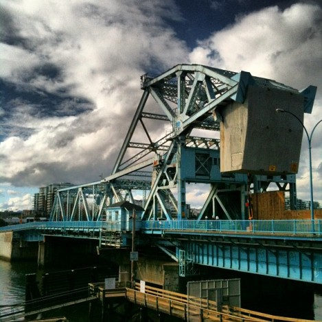 "By yours truly, Victoria's ""Blue Bridge"" aka The Johnson Street Bridge."
