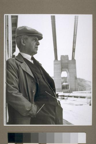 From UC Berkley's Bancroft Library. Joseph B. Strauss, bridge mastermind, admires his handiwork.