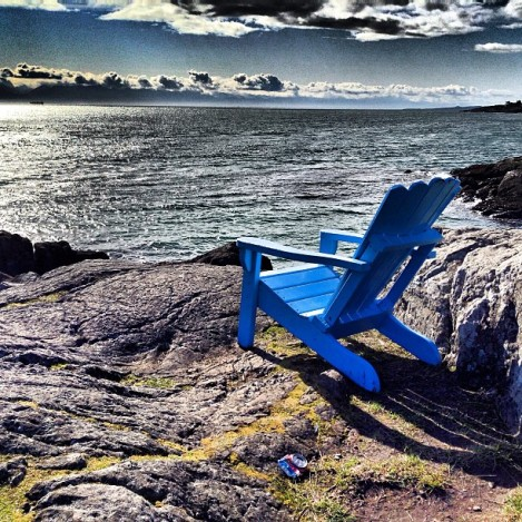 One of the Cape Cod chairs overlooking Trial Island in Oak Bay.